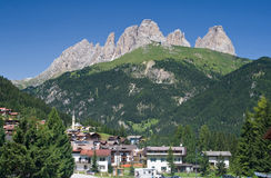 Alba di Canazei, val di Fassa Stock Photo