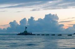 Alba di Cloudly sopra il Mar Baltico a Gorki Zachodnie a Danzica, Polonia Immagini Stock Libere da Diritti