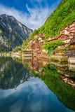 Alba di estate nel lago Hallstattersee in Hallstatt, alpi, Austria, Europa Fotografia Stock Libera da Diritti