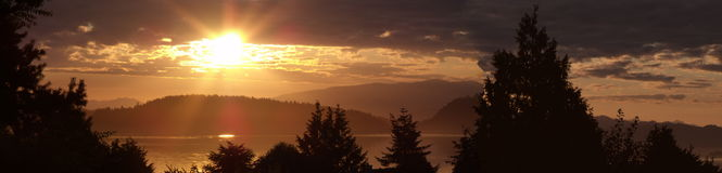 Alba di estate su Puget Sound Immagine Stock Libera da Diritti