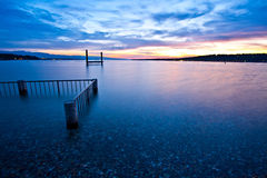 Alba di Ginevra del lago. Fotografia Stock