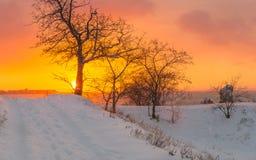 Alba di inverno in Crimea fotografie stock libere da diritti