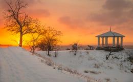 Alba di inverno in Crimea immagine stock