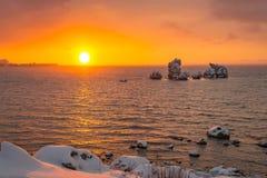 Alba di inverno in Crimea fotografia stock