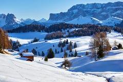Alba di inverno sopra Alpe di Siusi Dolomites, Italia Immagini Stock