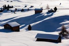 Alba di inverno sopra Alpe di Siusi Dolomites, Italia Fotografia Stock Libera da Diritti