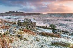 Alba di inverno sopra Brown Willy Fotografia Stock