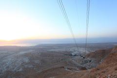 Alba di Masada nel deserto di Judah Immagine Stock