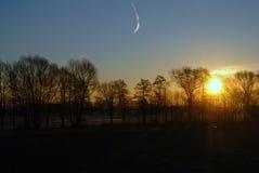 Alba di Sun il campo Fotografia Stock Libera da Diritti