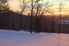 Alba dorata sulle precipitazioni nevose fresche Fotografia Stock