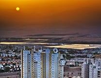 Alba in Eilat nella foschia Fotografia Stock Libera da Diritti