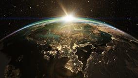 Alba epica sopra l'orizzonte del mondo Fotografia Stock Libera da Diritti