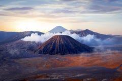 Alba fantastica sul vulcano di Bromo l'indonesia L'isola di Java immagine stock libera da diritti