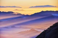 Alba (gialla) della montagna di Huangshan Fotografia Stock