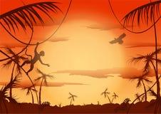 Alba in giungla, illustrazione di vettore Immagine Stock Libera da Diritti