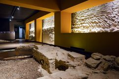 Alba sotterranea, underground archeological site in Alba Italy. ALBA, ITALY - MARCH 1, 2018: Alba sotterranea underground Alba, ancient roman and middle age Royalty Free Stock Photography