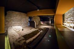 Alba sotterranea, underground archeological site in Alba Italy. ALBA, ITALY - MARCH 1, 2018: Alba sotterranea underground Alba, ancient roman and middle age Stock Photos
