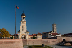 Alba Iulia Citadel - Orthodox and Catholic Cathedrals. The walls and major landmarks of the Alba Carolina citadel of Alba Iulia. The citadel was built according royalty free stock image