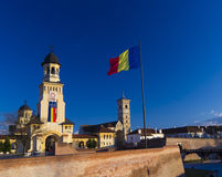 Alba Iulia Fortress and national flag Stock Photos