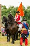 Alba Iulia skicklig ryttarevakt på fästningturneringfestivalen i Fagaras Royaltyfri Bild
