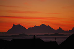 Alba in Lofoten, Norvegia Fotografia Stock