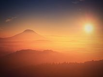 Alba maravillosa sobre el valle por completo de los picos coloridos de la niebla de altos árboles Fotografía de archivo