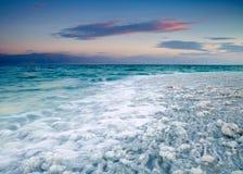 Alba in mare il mar Morto, Israele Immagini Stock Libere da Diritti