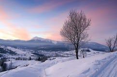Alba in montagne carpatiche Immagine Stock