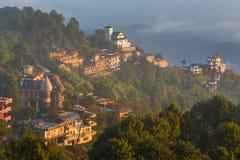 Alba in Nagarkot nella valle di Kathmandu fotografie stock libere da diritti