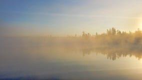 Alba nebbiosa del lago mud fotografie stock