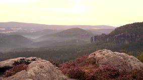 Alba nebbiosa della primavera nel parco attraente Sassonia Svizzera dell'impero della roccia della natura stock footage