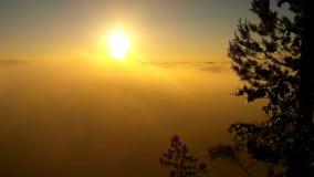Alba nebbiosa della sorgente di acqua calda in un bello parco roccioso Picchi dell'arenaria aumentati da nebbia stock footage