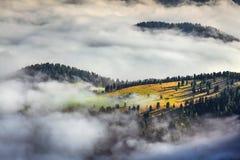 Alba nebbiosa di estate nelle alpi italiane Immagine Stock