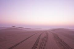 Alba nebbiosa di mattina di inverno nel deserto La Doubai, UAE Fotografie Stock Libere da Diritti