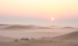 Alba nebbiosa di mattina di inverno nel deserto La Doubai, UAE Immagini Stock Libere da Diritti