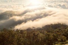 Alba nebbiosa di primo mattino sopra il grai morbido del fuoco della montagna Immagini Stock