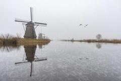 Alba nebbiosa e piovosa del mulino a vento fotografia stock