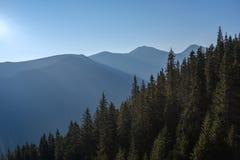 alba nebbiosa in montagne slovacche di Tatra con i vicoli leggeri nella f immagini stock