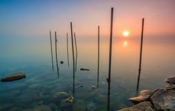 Alba nel lago Fotografia Stock