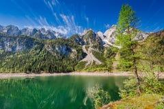 Alba nel lago Gosausee in Gosau, alpi, Austria, Europa Immagini Stock Libere da Diritti