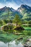 Alba nel lago Hintersee in alpi Fotografia Stock Libera da Diritti