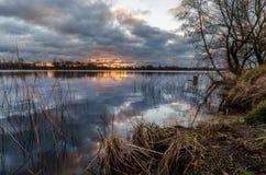 Alba nel lago Riedkine Fotografia Stock