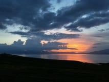 Alba nel lago Sayram Sailimu Fotografia Stock Libera da Diritti