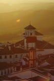Alba nel villaggio di Grazalema fotografie stock libere da diritti