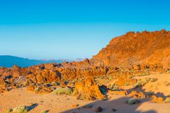 Alba nella caldera del vulcano di EL Teide, Tenerife, canarino Fotografie Stock