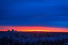 Alba nella città di Petrozavodsk Fotografie Stock Libere da Diritti