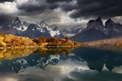 Alba nella sosta nazionale del Torres del Paine Fotografie Stock
