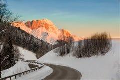 Alba nelle alpi della Germania, Berchtesgaden, Baviera, Germania Fotografie Stock