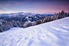 Alba nelle alpi di inverno Immagine Stock Libera da Diritti