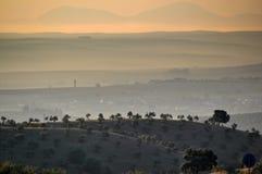 Alba nelle pianure della Spagna centrale Fotografia Stock Libera da Diritti
